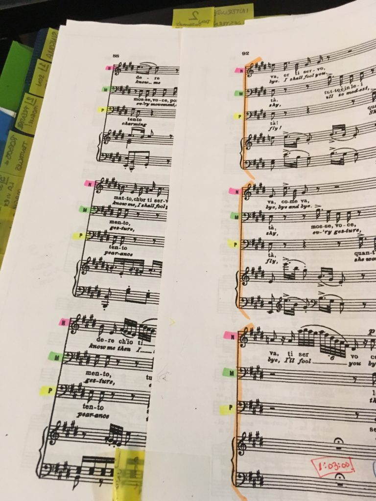 Two versions of trio score highlighting