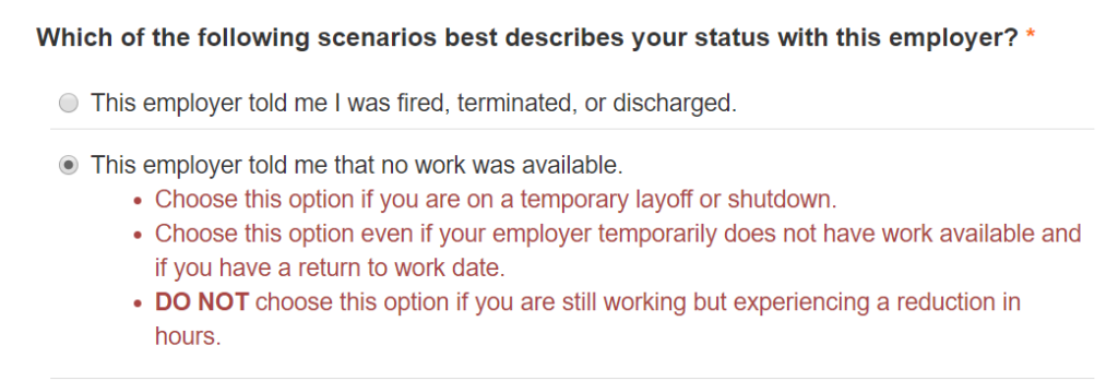 Which of the following scenarios best describes your status with this employer? This employer told me that no work was available.