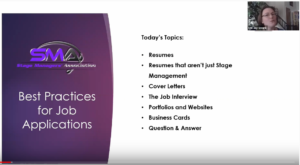 Screenshot from a Stage Managers' Association webinar on Best Practices for Job Applications, hosted by Erin Joy Swank. This page previews the topics discussed, including resumes, cover letters, interviews, portfolios, websites, and business cards.